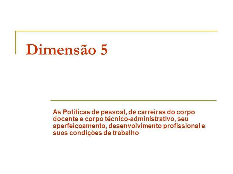 Dimensão 5 As Políticas de pessoal, de carreiras do corpo docente e corpo técnico-administrativo, seu aperfeiçoamento, desenvolvimento profissional e