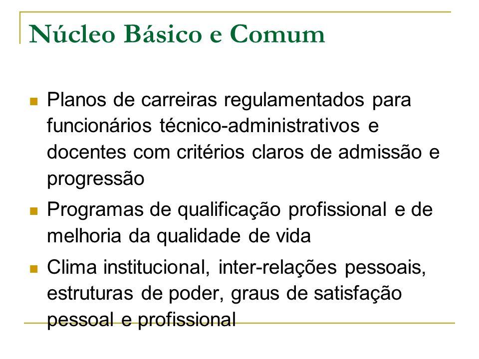 Núcleo Básico e Comum Planos de carreiras regulamentados para funcionários técnico-administrativos e docentes com critérios claros de admissão e progr
