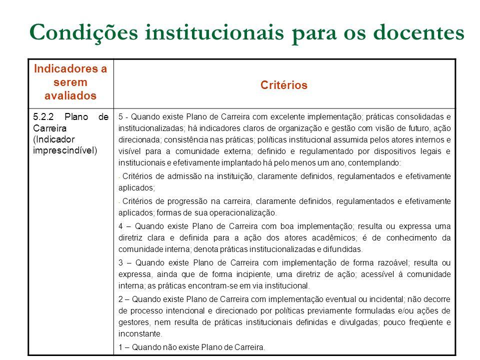 Condições institucionais para os docentes Indicadores a serem avaliados Critérios 5.2.2 Plano de Carreira (Indicador imprescindível) 5 - Quando existe
