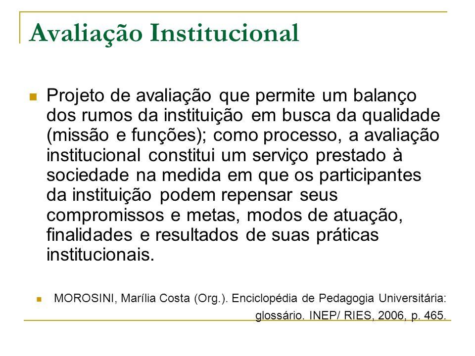 Avaliação Institucional Projeto de avaliação que permite um balanço dos rumos da instituição em busca da qualidade (missão e funções); como processo,