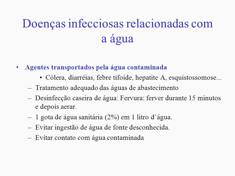 Doenças infecciosas relacionadas com a água Agentes transportados pela água contaminada Cólera, diarréias, febre tifoide, hepatite A, esquistossomose.
