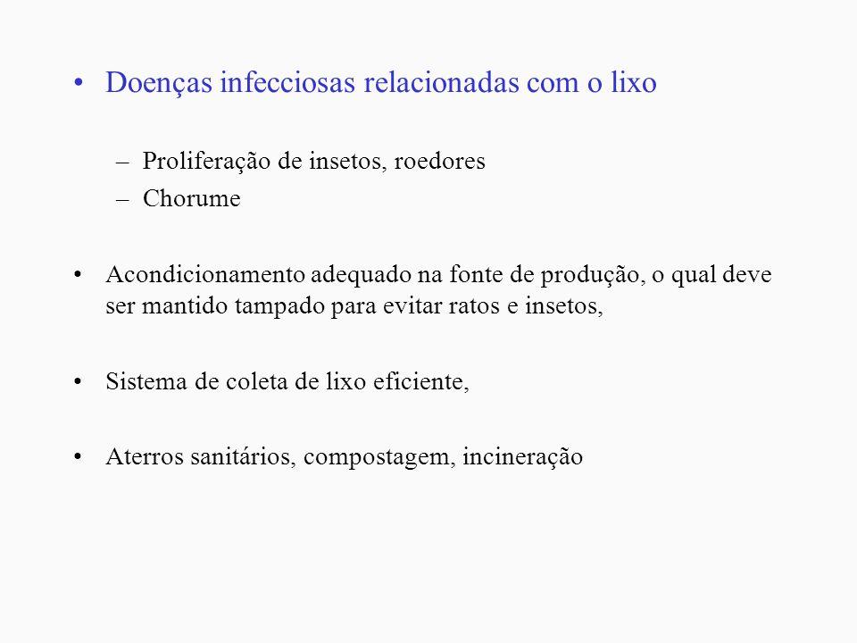 Doenças infecciosas relacionadas com o lixo –Proliferação de insetos, roedores –Chorume Acondicionamento adequado na fonte de produção, o qual deve se