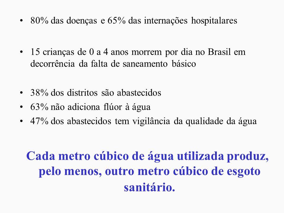 80% das doenças e 65% das internações hospitalares 15 crianças de 0 a 4 anos morrem por dia no Brasil em decorrência da falta de saneamento básico 38%