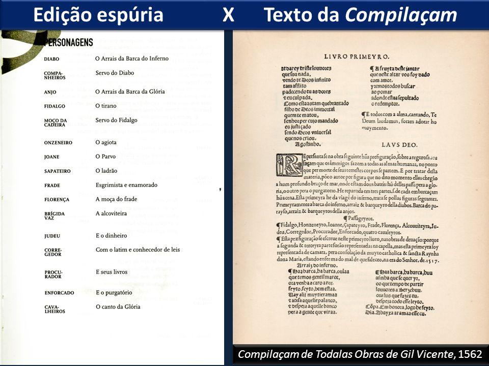 Edição espúria X Texto da Compilaçam Compilaçam de Todalas Obras de Gil Vicente, 1562
