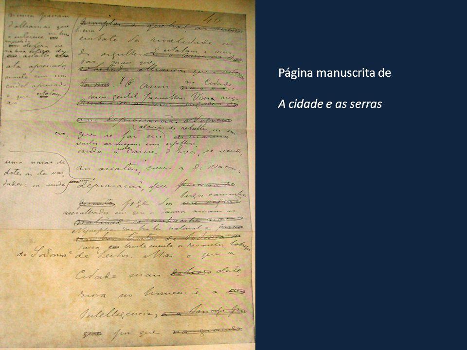 Página manuscrita de A cidade e as serras