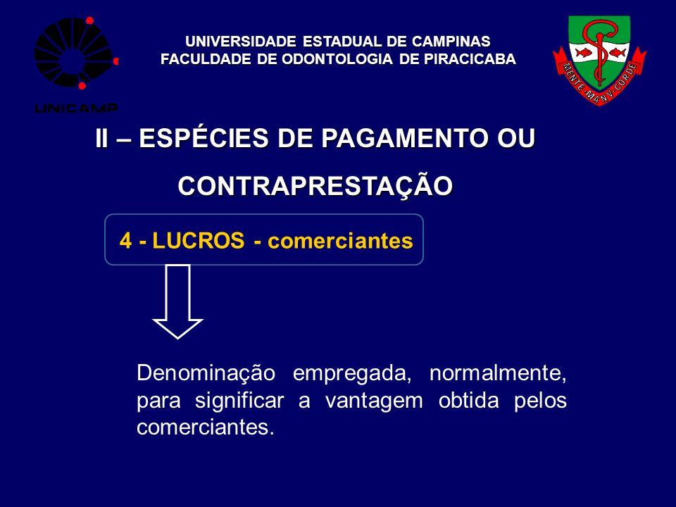 UNIVERSIDADE ESTADUAL DE CAMPINAS FACULDADE DE ODONTOLOGIA DE PIRACICABA II – ESPÉCIES DE PAGAMENTO OU CONTRAPRESTAÇÃO 4 - LUCROS - comerciantes Denom