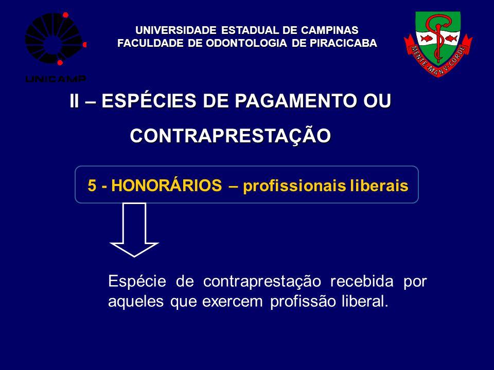 UNIVERSIDADE ESTADUAL DE CAMPINAS FACULDADE DE ODONTOLOGIA DE PIRACICABA II – ESPÉCIES DE PAGAMENTO OU CONTRAPRESTAÇÃO 5 - HONORÁRIOS – profissionais