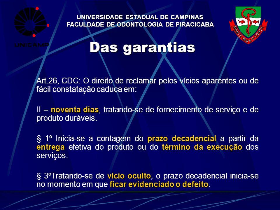 UNIVERSIDADE ESTADUAL DE CAMPINAS FACULDADE DE ODONTOLOGIA DE PIRACICABA Das garantias Art.26, CDC: O direito de reclamar pelos vícios aparentes ou de