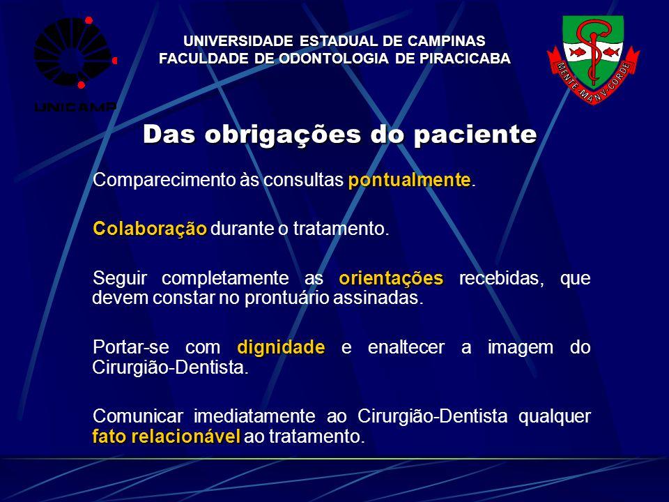 UNIVERSIDADE ESTADUAL DE CAMPINAS FACULDADE DE ODONTOLOGIA DE PIRACICABA Das obrigações do paciente pontualmente Comparecimento às consultas pontualme
