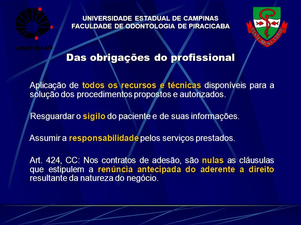 UNIVERSIDADE ESTADUAL DE CAMPINAS FACULDADE DE ODONTOLOGIA DE PIRACICABA Das obrigações do profissional todos os recursos e técnicas Aplicação de todo