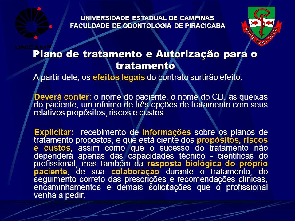 UNIVERSIDADE ESTADUAL DE CAMPINAS FACULDADE DE ODONTOLOGIA DE PIRACICABA Plano de tratamento e Autorização para o tratamento efeitos legais A partir d
