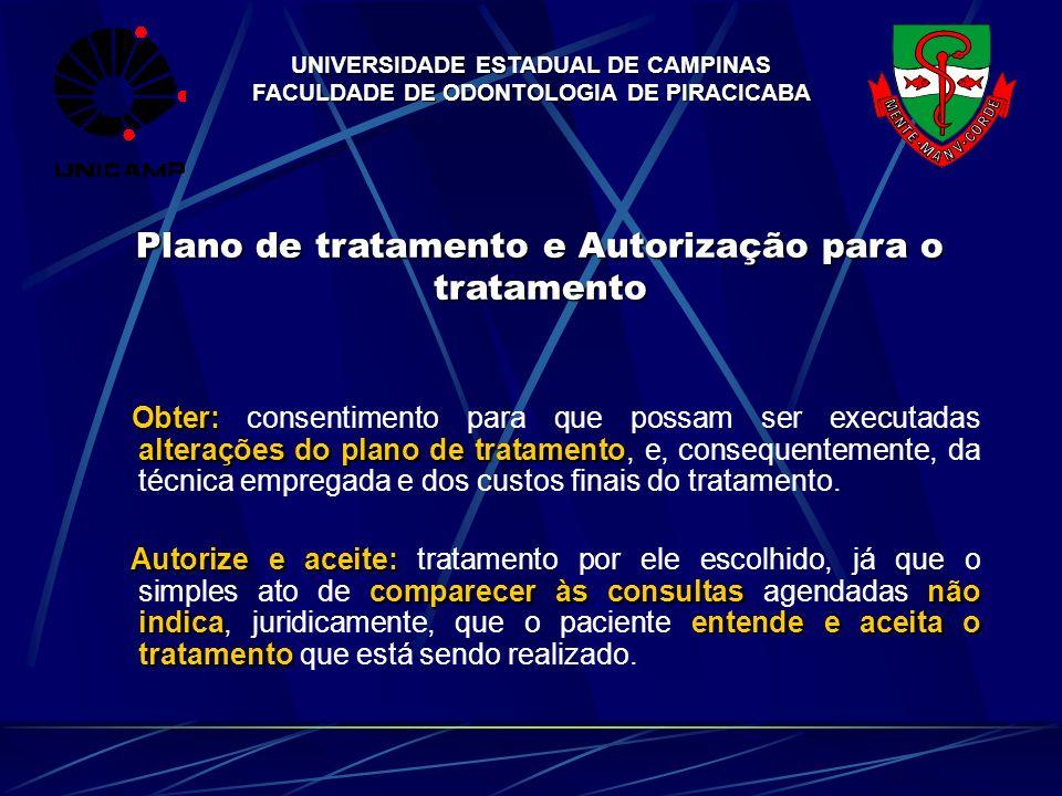 UNIVERSIDADE ESTADUAL DE CAMPINAS FACULDADE DE ODONTOLOGIA DE PIRACICABA Plano de tratamento e Autorização para o tratamento Obter: alterações do plan