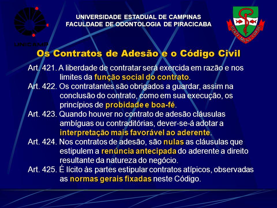 UNIVERSIDADE ESTADUAL DE CAMPINAS FACULDADE DE ODONTOLOGIA DE PIRACICABA Os Contratos de Adesão e o Código Civil Art. 421. A liberdade de contratar se