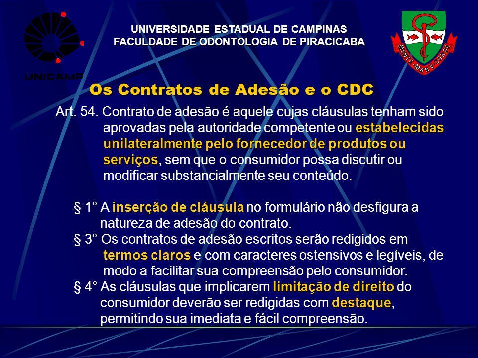UNIVERSIDADE ESTADUAL DE CAMPINAS FACULDADE DE ODONTOLOGIA DE PIRACICABA Os Contratos de Adesão e o CDC Art. 54. Contrato de adesão é aquele cujas clá