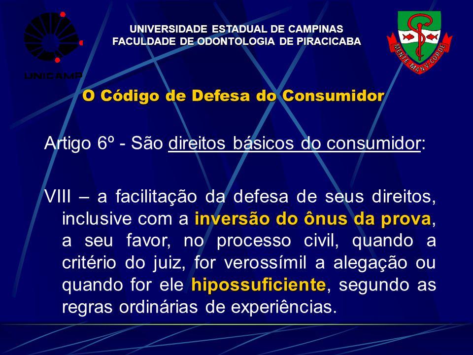 UNIVERSIDADE ESTADUAL DE CAMPINAS FACULDADE DE ODONTOLOGIA DE PIRACICABA O Código de Defesa do Consumidor Artigo 6º - São direitos básicos do consumid