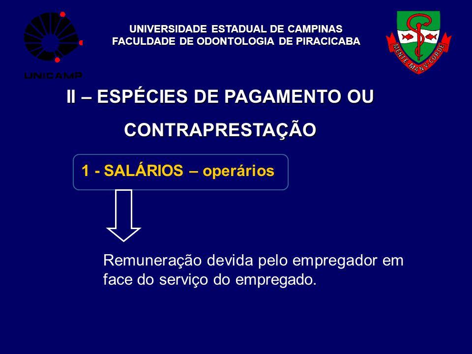 UNIVERSIDADE ESTADUAL DE CAMPINAS FACULDADE DE ODONTOLOGIA DE PIRACICABA II – ESPÉCIES DE PAGAMENTO OU CONTRAPRESTAÇÃO 1 - SALÁRIOS – operários Remune