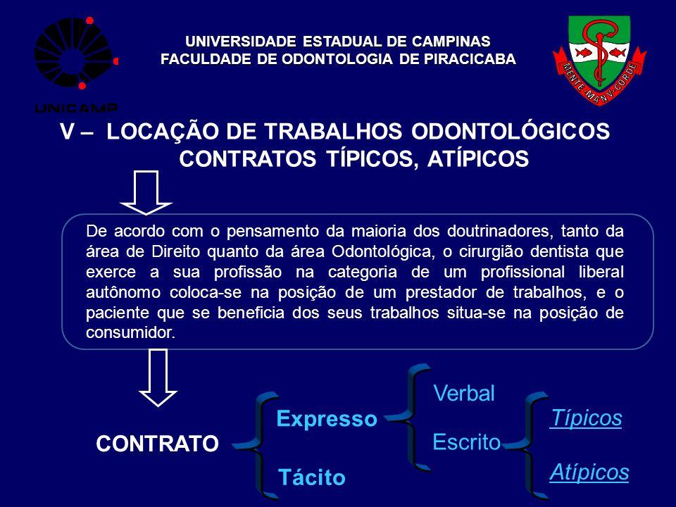 UNIVERSIDADE ESTADUAL DE CAMPINAS FACULDADE DE ODONTOLOGIA DE PIRACICABA V – LOCAÇÃO DE TRABALHOS ODONTOLÓGICOS CONTRATOS TÍPICOS, ATÍPICOS De acordo