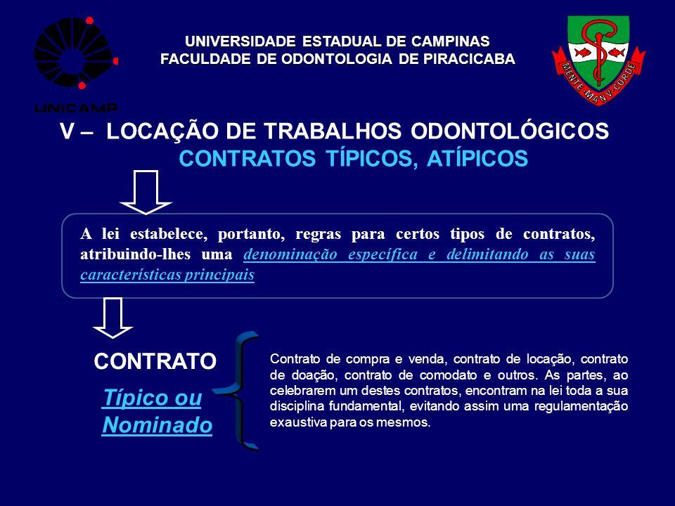 UNIVERSIDADE ESTADUAL DE CAMPINAS FACULDADE DE ODONTOLOGIA DE PIRACICABA V – LOCAÇÃO DE TRABALHOS ODONTOLÓGICOS CONTRATOS TÍPICOS, ATÍPICOS CONTRATO A