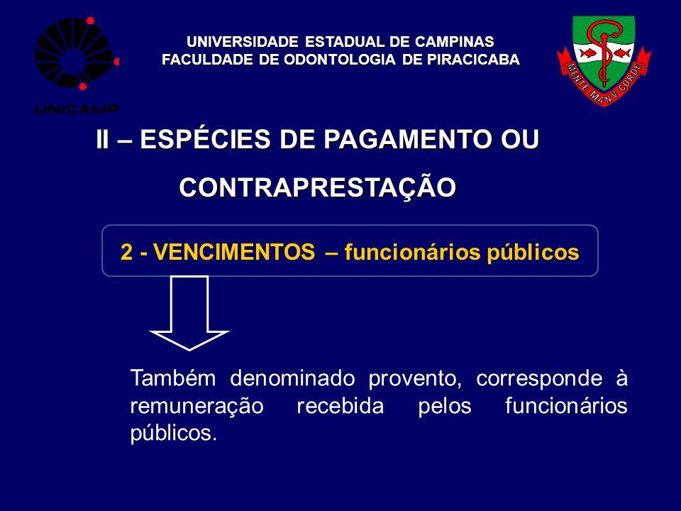 UNIVERSIDADE ESTADUAL DE CAMPINAS FACULDADE DE ODONTOLOGIA DE PIRACICABA II – ESPÉCIES DE PAGAMENTO OU CONTRAPRESTAÇÃO 2 - VENCIMENTOS – funcionários