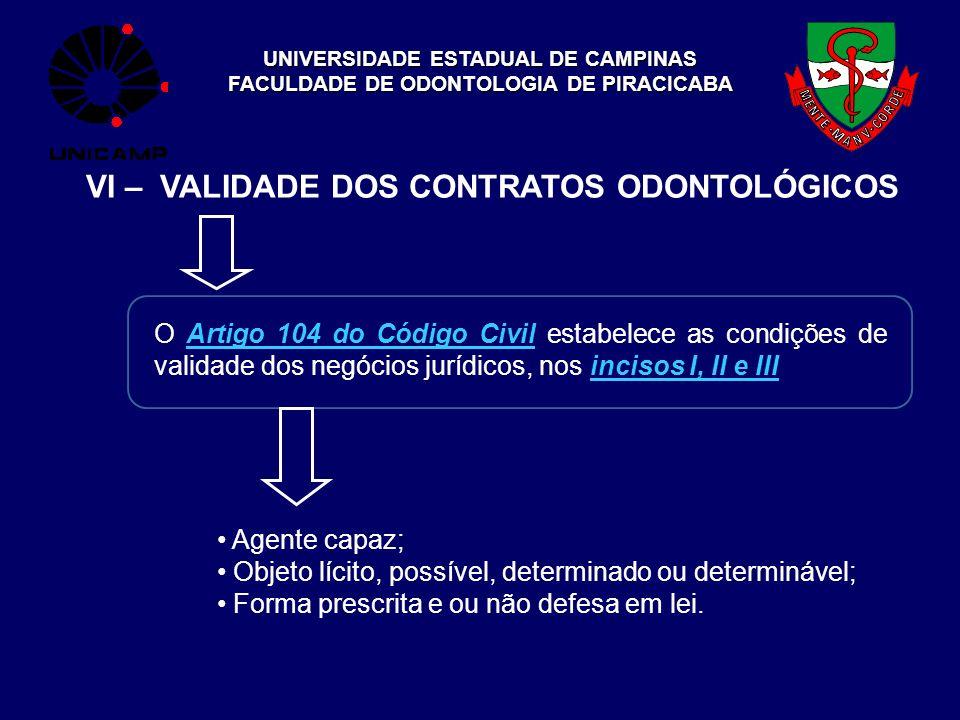 UNIVERSIDADE ESTADUAL DE CAMPINAS FACULDADE DE ODONTOLOGIA DE PIRACICABA VI – VALIDADE DOS CONTRATOS ODONTOLÓGICOS O Artigo 104 do Código Civil estabe