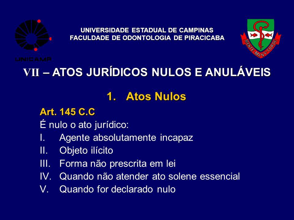 UNIVERSIDADE ESTADUAL DE CAMPINAS FACULDADE DE ODONTOLOGIA DE PIRACICABA VII – ATOS JURÍDICOS NULOS E ANULÁVEIS 1.Atos Nulos Art. 145 C.C É nulo o ato