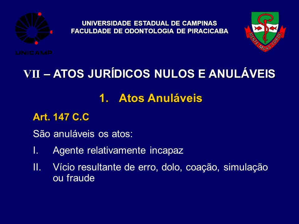 UNIVERSIDADE ESTADUAL DE CAMPINAS FACULDADE DE ODONTOLOGIA DE PIRACICABA VII – ATOS JURÍDICOS NULOS E ANULÁVEIS 1.Atos Anuláveis Art. 147 C.C São anul