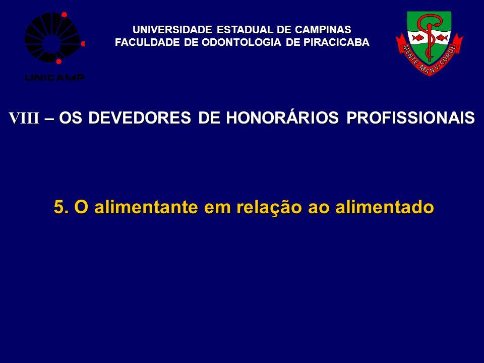 UNIVERSIDADE ESTADUAL DE CAMPINAS FACULDADE DE ODONTOLOGIA DE PIRACICABA 5. O alimentante em relação ao alimentado VIII – OS DEVEDORES DE HONORÁRIOS P
