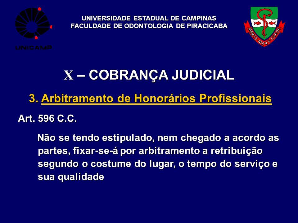 UNIVERSIDADE ESTADUAL DE CAMPINAS FACULDADE DE ODONTOLOGIA DE PIRACICABA X – COBRANÇA JUDICIAL 3. Arbitramento de Honorários Profissionais Art. 596 C.