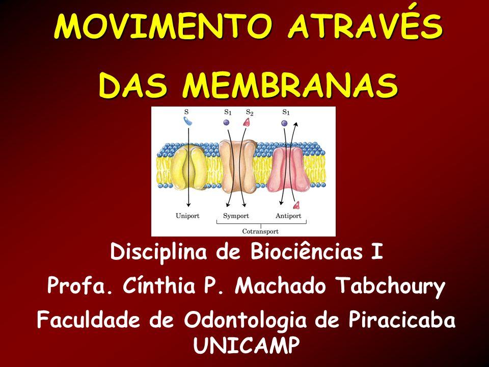 MOVIMENTO ATRAVÉS DAS MEMBRANAS Disciplina de Biociências I Profa.