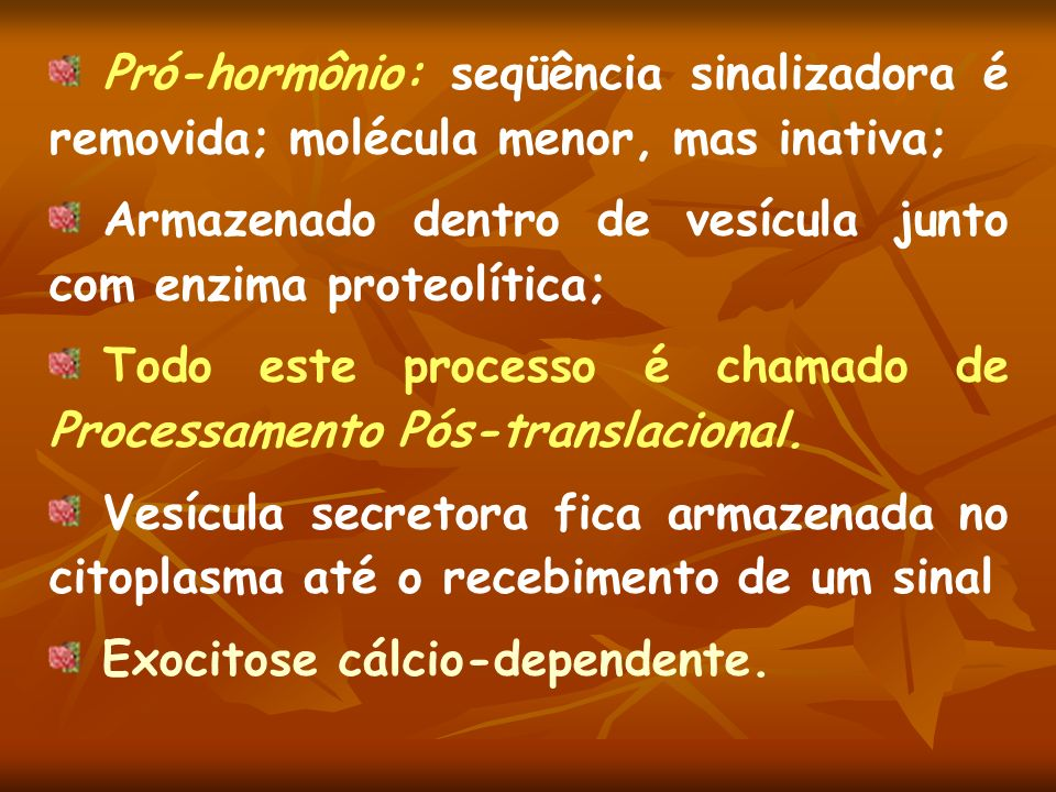 Pró-hormônio: seqüência sinalizadora é removida; molécula menor, mas inativa; Armazenado dentro de vesícula junto com enzima proteolítica; Todo este p