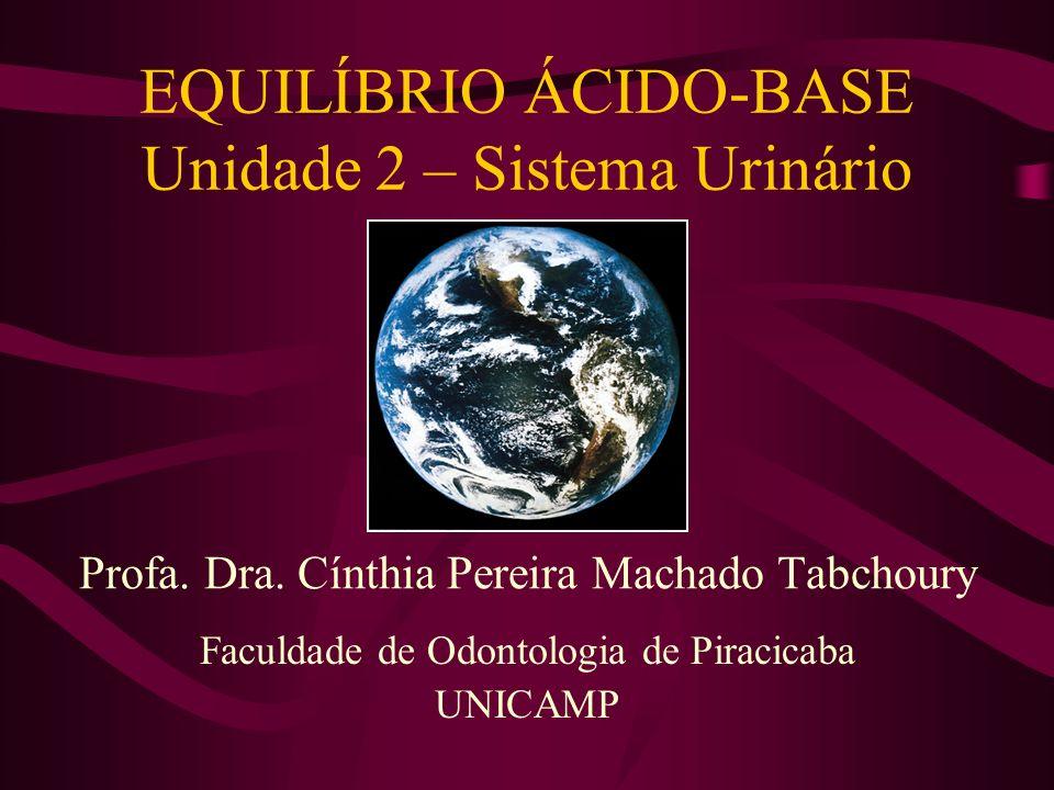 EQUILÍBRIO ÁCIDO-BASE Unidade 2 – Sistema Urinário Faculdade de Odontologia de Piracicaba UNICAMP Profa. Dra. Cínthia Pereira Machado Tabchoury