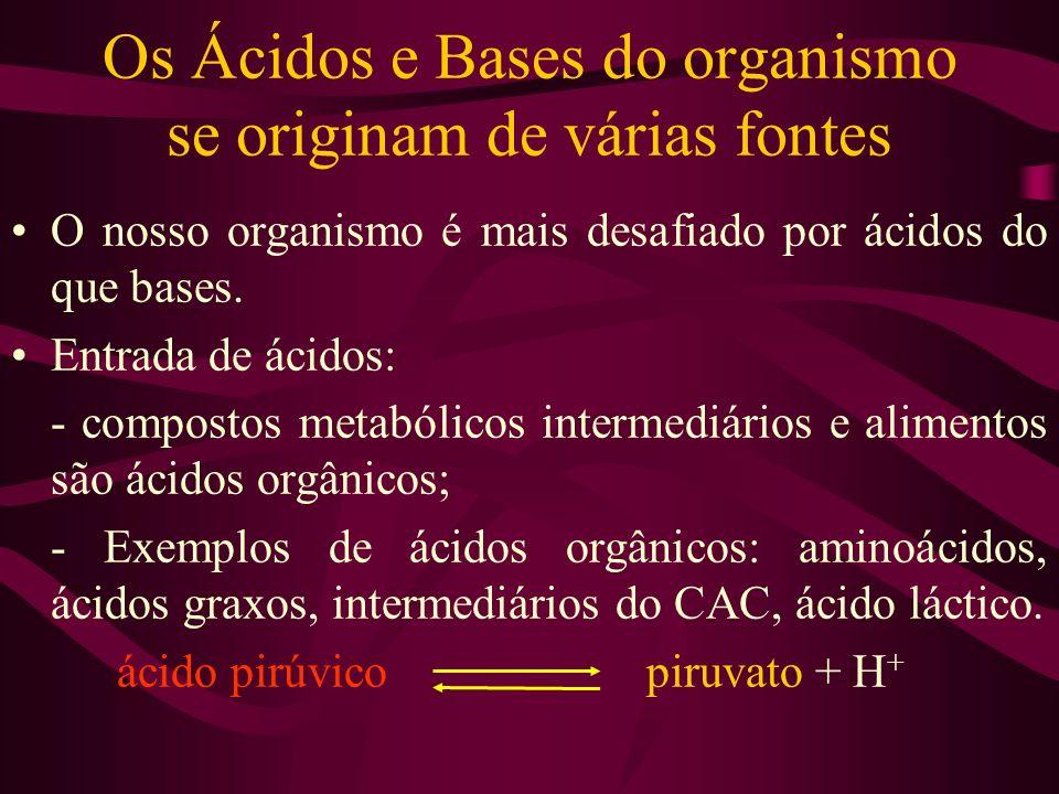Os Ácidos e Bases do organismo se originam de várias fontes O nosso organismo é mais desafiado por ácidos do que bases. Entrada de ácidos: - compostos
