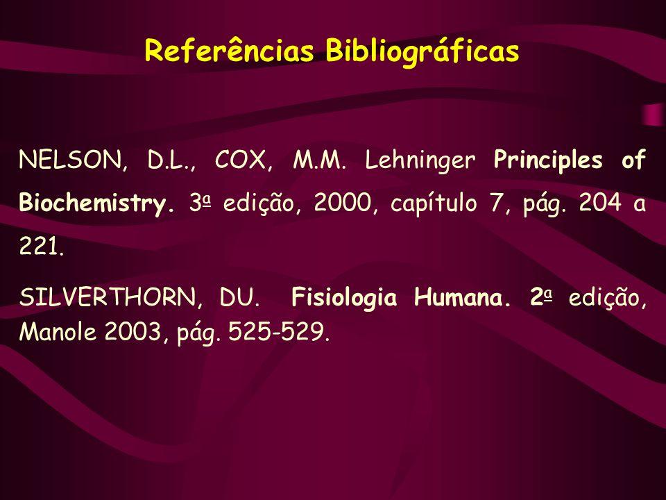 Referências Bibliográficas NELSON, D.L., COX, M.M. Lehninger Principles of Biochemistry. 3 a edição, 2000, capítulo 7, pág. 204 a 221. SILVERTHORN, DU