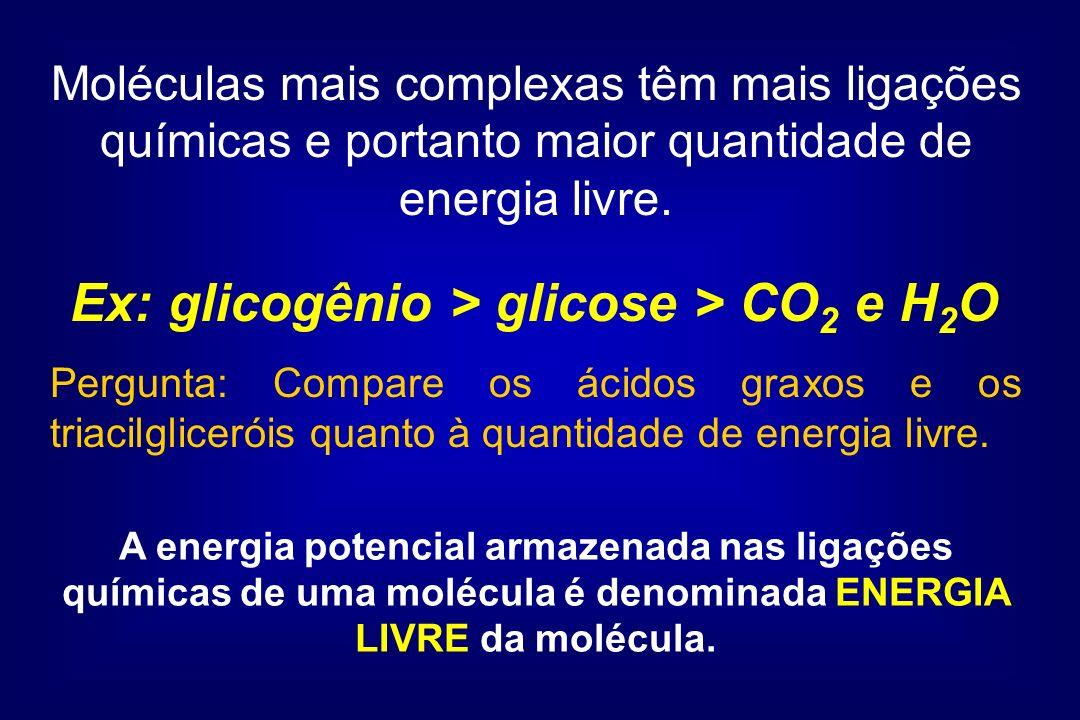 Moléculas mais complexas têm mais ligações químicas e portanto maior quantidade de energia livre. Ex: glicogênio > glicose > CO 2 e H 2 O A energia po