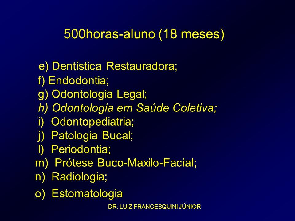 e) Dentística Restauradora; f) Endodontia; g) Odontologia Legal; h) Odontologia em Saúde Coletiva; i) Odontopediatria; j) Patologia Bucal; l) Periodon