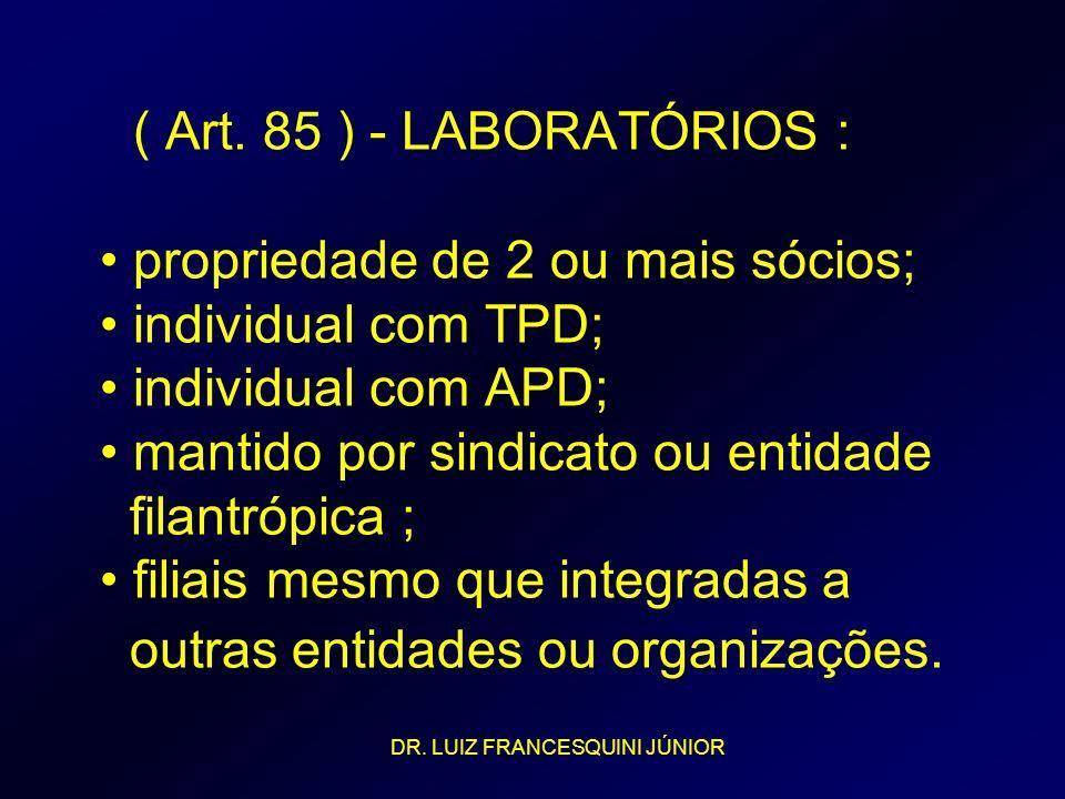 ( Art. 85 ) - LABORATÓRIOS : propriedade de 2 ou mais sócios; individual com TPD; individual com APD; mantido por sindicato ou entidade filantrópica ;