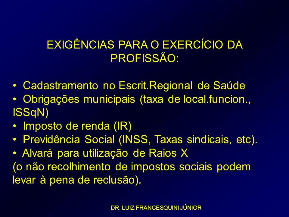 EXIGÊNCIAS PARA O EXERCÍCIO DA PROFISSÃO: Cadastramento no Escrit.Regional de Saúde Obrigações municipais (taxa de local.funcion., ISSqN) Imposto de r