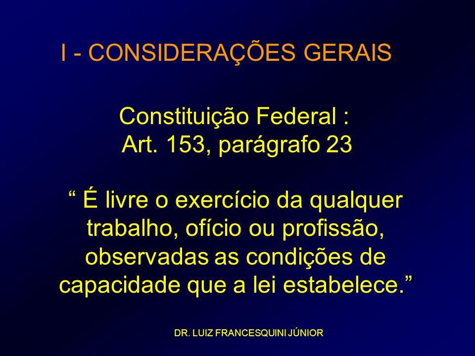 I - CONSIDERAÇÕES GERAIS Constituição Federal : Art. 153, parágrafo 23. É livre o exercício da qualquer trabalho, ofício ou profissão, observadas as c