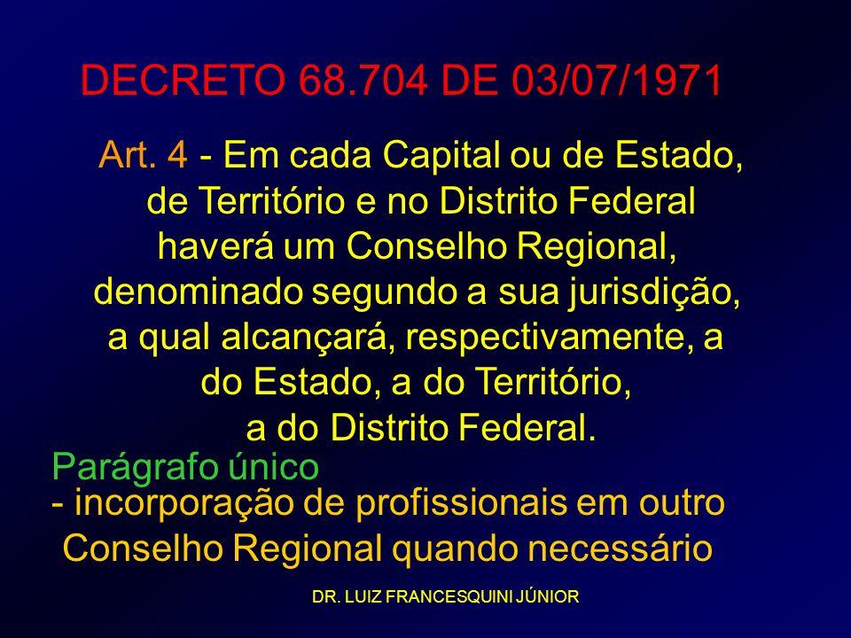 DECRETO 68.704 DE 03/07/1971 Art. 4 - Em cada Capital ou de Estado, de Território e no Distrito Federal haverá um Conselho Regional, denominado segund