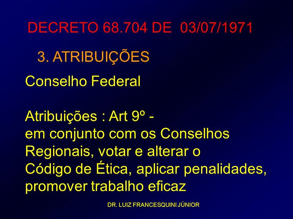 Conselho Federal Atribuições : Art 9º - em conjunto com os Conselhos Regionais, votar e alterar o Código de Ética, aplicar penalidades, promover traba