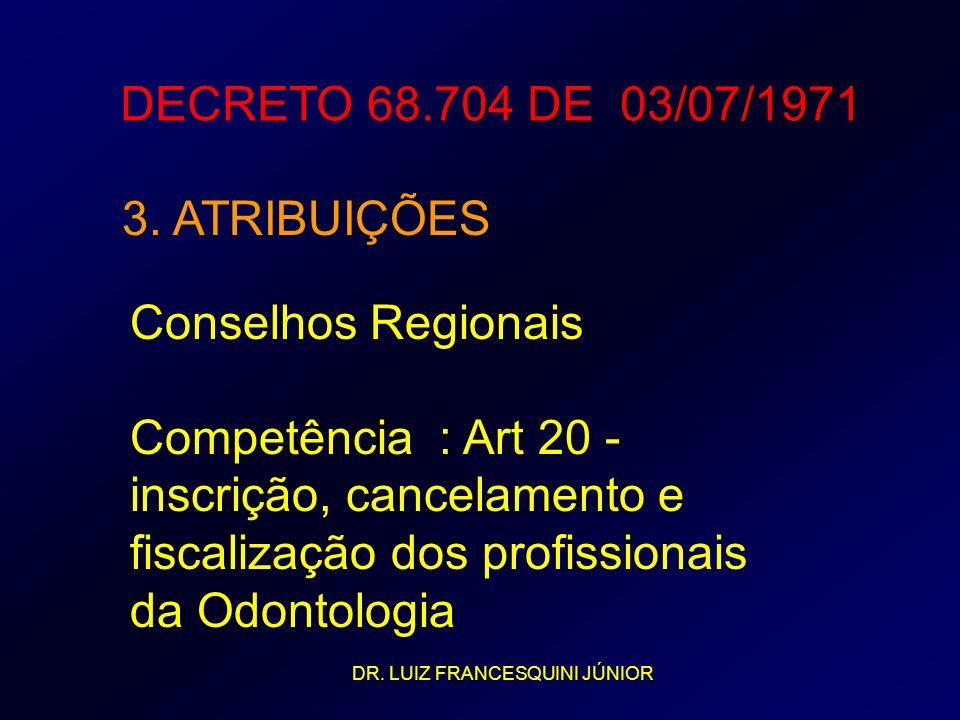 DECRETO 68.704 DE 03/07/1971 3. ATRIBUIÇÕES Conselhos Regionais Competência : Art 20 - inscrição, cancelamento e fiscalização dos profissionais da Odo