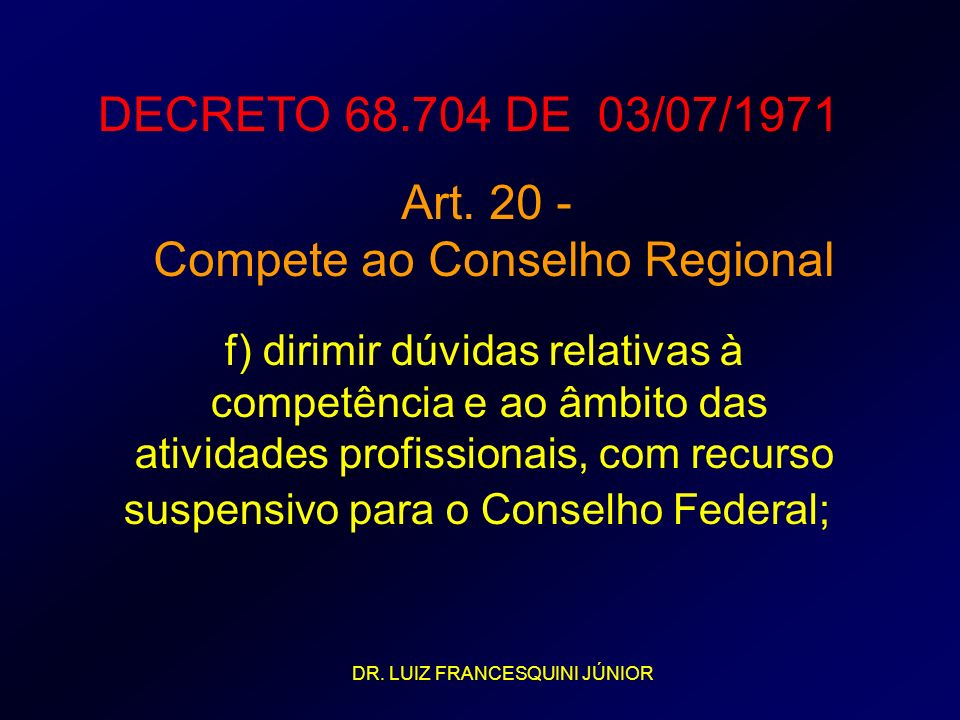 DECRETO 68.704 DE 03/07/1971 Art. 20 - Compete ao Conselho Regional f) dirimir dúvidas relativas à competência e ao âmbito das atividades profissionai