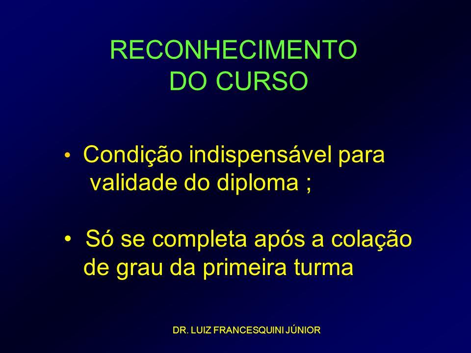 RECONHECIMENTO DO CURSO Condição indispensável para validade do diploma ; Só se completa após a colação de grau da primeira turma DR. LUIZ FRANCESQUIN
