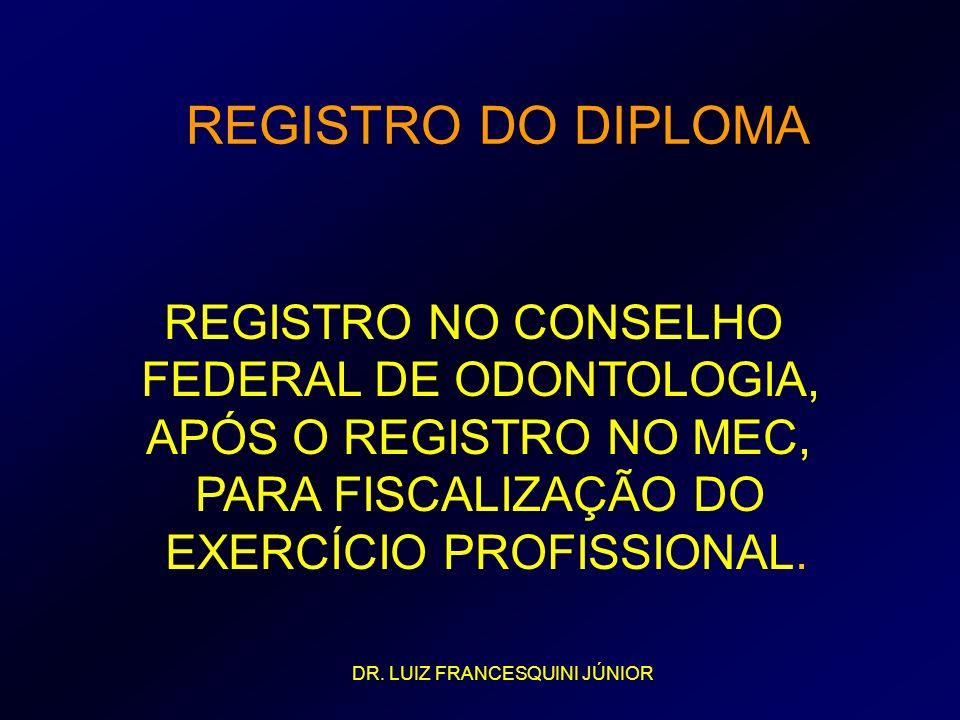 REGISTRO NO CONSELHO FEDERAL DE ODONTOLOGIA, APÓS O REGISTRO NO MEC, PARA FISCALIZAÇÃO DO EXERCÍCIO PROFISSIONAL. REGISTRO DO DIPLOMA DR. LUIZ FRANCES