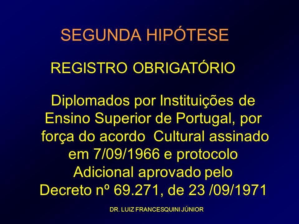 SEGUNDA HIPÓTESE REGISTRO OBRIGATÓRIO Diplomados por Instituições de Ensino Superior de Portugal, por força do acordo Cultural assinado em 7/09/1966 e