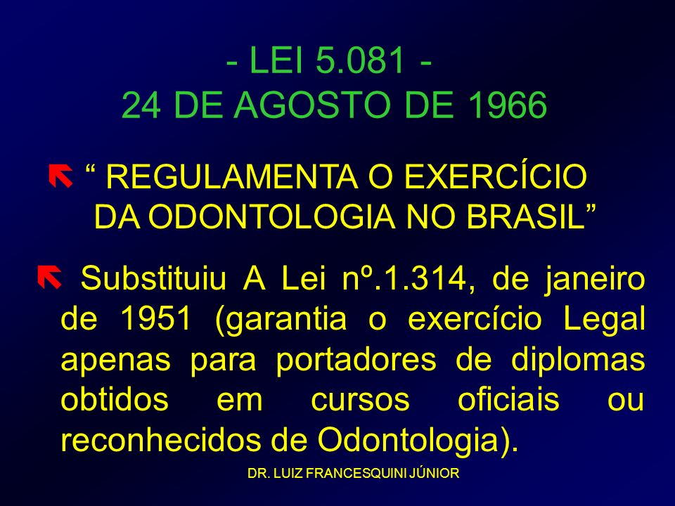 Substituiu A Lei nº.1.314, de janeiro de 1951 (garantia o exercício Legal apenas para portadores de diplomas obtidos em cursos oficiais ou reconhecido