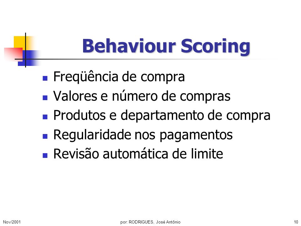 Nov/2001por: RODRIGUES, José Antônio11 Cobrança Terceirizada (internet) Software proprietário Operação on-line Renegociação de débitos Controle de qualidade Segurança