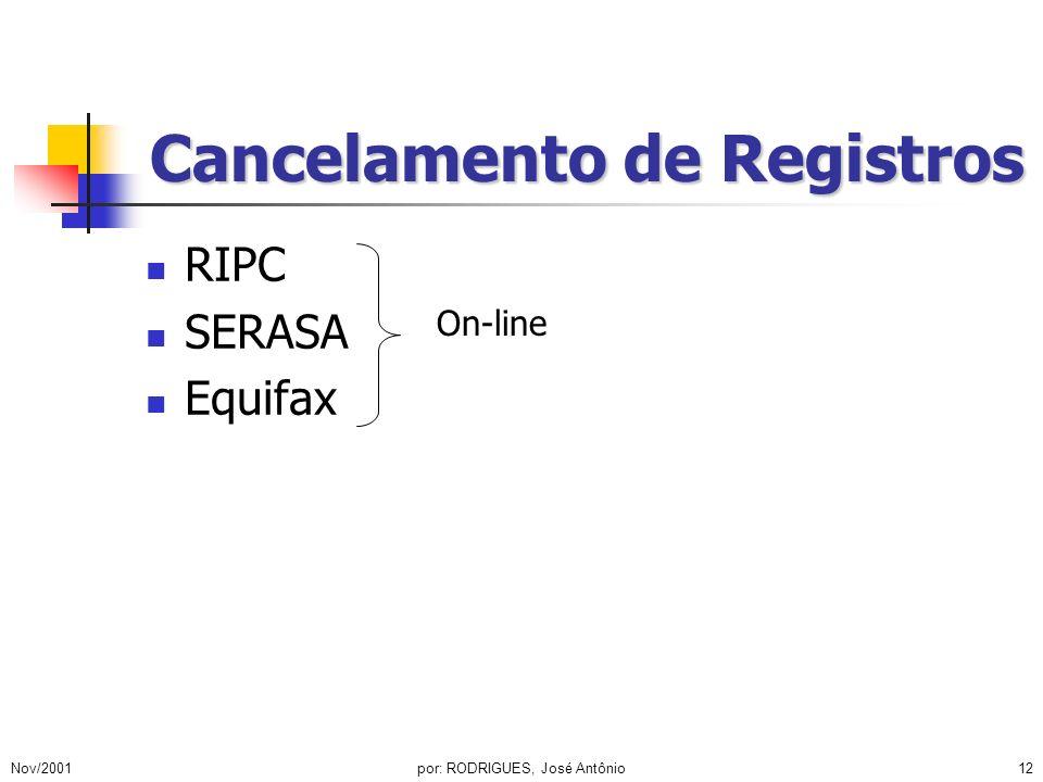 Nov/2001por: RODRIGUES, José Antônio12 Cancelamento de Registros RIPC SERASA Equifax On-line