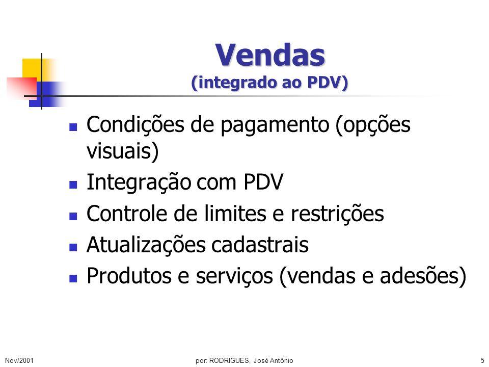 Nov/2001por: RODRIGUES, José Antônio6 Meios de Pagamento (integrado ao PDV) Cartão próprio Cartões de bandeira Cheques / consulta integrada e automatizada TEF (TecBan, Visanet, Redecard etc...)