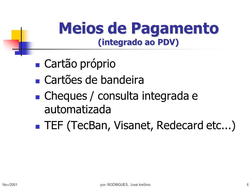 Nov/2001por: RODRIGUES, José Antônio6 Meios de Pagamento (integrado ao PDV) Cartão próprio Cartões de bandeira Cheques / consulta integrada e automati